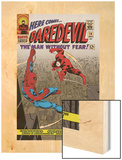 Daredevil No.16 Cover: Spider-Man and Daredevil Charging Wood Print by John Romita Sr.