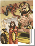 Assault on New Olympus Prologue No.1 Group: Hercules, Spider Woman, Spider-Man and Wolverine Wood Print by Rodney Buchemi
