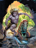 Ka-Zar No.4 Cover: Ka-Zar Running and Jumping through the Jungle Wall Decal by Pascal Alixe