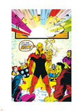 Infinity Gauntlet No.6 Group: Adam Warlock, Thanos, Thor and Hulk Fighting Plastic Sign by George Perez