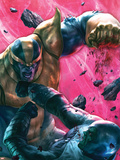The Thanos Imperative No.4 Cover: Drax and Thanos Fighting Plastic Sign by Aleksi Briclot