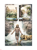 Ka-Zar No.4: Panels with Ka-Zar and Zabu in front of a Waterfall Plastic Sign by Pascal Alixe