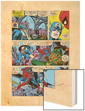 Captain America And The Falcon Group: Captain America, Falcon and Spider-Man Wood Print by John Romita Sr.