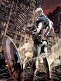 Ultimate Fallout No.6 Cover: Captain America Standing, Looking at his Shield Plastic Sign by Bryan Hitch
