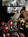 Civil War: House Of M No.2 Group: Black Widow, Darkstar and Red Guardian Signe en plastique rigide par Andrea Di Vito