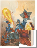 The New Invaders No.2 Cover: Captain America Wood Print by Scott Kolins