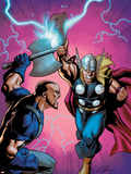 Marvel Adventures Super Heroes No.6 Cover: Thor Fighting Plastic Sign by Clayton Henry