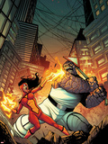 Spider-Island: Spider-Woman No.1 Cover: Spider Woman and Thing Fighting in a City at Night Plastic Sign by Stefano Caselli