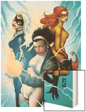 Marvel Divas No.3 Cover: Photon, Hellcat, Black Cat and Firestar Wood Print by Patrick Zircher