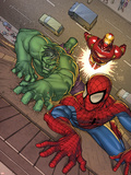 Marvel Adventures Super Heroes No.3 Cover: Spider-Man, Hulk and Iron Man Plastic Sign by Roger Cruz