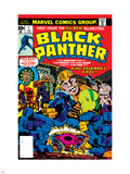 Black Panther No.1 Cover: Black Panther, Little, Abner and Princess Zanda Fighting Plastic Sign by Jack Kirby