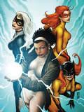 Marvel Divas No.3 Cover: Photon, Hellcat, Black Cat and Firestar Wall Decal by Patrick Zircher