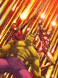 Marvel Adventures Super Heroes No.2 Cover: Hulk, Spider-Man and Iron Man Plastic Sign by Roger Cruz
