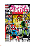Infinity Gauntlet No.2 Cover: Captain America, Thor and She-Hulk Plastic Sign by George Perez