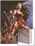 Herc No.8: Elektra Posing in an Alleyway Wood Print by June Brigman