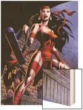 Herc No.8: Elektra Posing in an Alleyway Wood Print by June Brigman