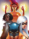 Marvel Divas No.2 Cover: Hellcat, Black Cat, Photon and Firestar Wall Decal
