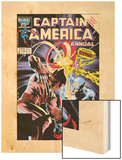 Captain America Annual No.8 Cover: Captain America and Wolverine Flying Wood Print by Mike Zeck