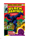 Black Panther No.7 Cover: Black Panther Fighting Plastic Sign by Jack Kirby