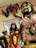 Assault on New Olympus Prologue No.1 Group: Hercules, Spider Woman, Spider-Man and Wolverine Plastic Sign by Rodney Buchemi