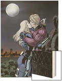 Hawkeye & Mockingbird No.4: Hawkeye and Mockingbird Kissing Wood Print by David Lopez