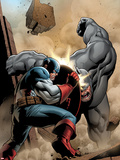 Marvel Adventrues Super Heroes No.5 Cover: Captain America and Rhino Fighting Plastic Sign by Clayton Henry