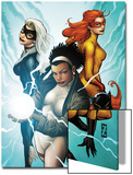 Marvel Divas No.3 Cover: Photon, Hellcat, Black Cat and Firestar Poster by Patrick Zircher