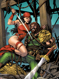 Herc No.10 Cover: Elektra and Hercules Fighting Plastic Sign by Carlo Pagulayan