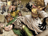 Assault on New Olympus Prologue No.1 Group: Hercules, Zeus, Amatsu-Mikaboshi, Ares and Phobos Wall Decal by Rodney Buchemi