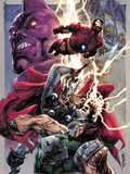 Iron Man/Thor No.2 Cover: Thor and Iron Man Smashing Plastic Sign by Stephen Segovia