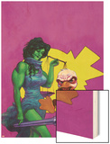 Howard The Duck No.3 Cover: She-Hulk and Howard The Duck Fighting Wood Print by Juan Bobillo