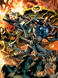 Ultimate Doom No.1 Cover: Nick Fury Fighting Plastic Sign by Bryan Hitch