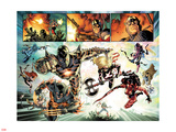 Fear Itself No.7: Iron Man, Wolverine, Iron Fist, Black Widow, Spider-Man, Ms. Marvel and Others Plastic Sign by Stuart Immonen