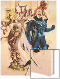 Adam: Legend Of The Blue Marvel No.1 Cover: Blue Marvel, Yellowjacket, Ms. Marvel and Iron Man Wood Print by Mat Broome