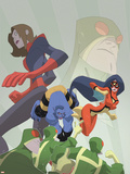Marvel Adventures Super Heroes No.16 Cover: Beast, Spider Woman and Giant Girl Plastic Sign by Sean Galloway