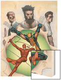 Powerless No.6 Cover: Wolverine, Daredevil, Matt Murdock, Spider-Man, Peter Parker, Logan Wood Print by Steve MCNiven