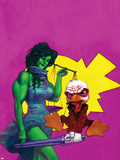 Howard The Duck No.3 Cover: She-Hulk and Howard The Duck Fighting Wall Decal by Juan Bobillo