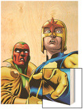 Marvel Adventures Super Heroes No.9 Cover: Nova and Vision Standing Wood Print by Ronan Cliquet