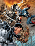 Battle Scars No.2 Cover: Johnson, Daisy, Captain America, and Task Master in a Fight Plastic Sign by Carlo Pagulayan