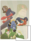 Marvel Adventures Super Heroes No.16 Cover: Beast, Spider Woman and Giant Girl Wood Print by Sean Galloway