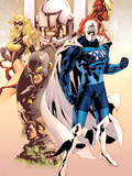 Adam: Legend Of The Blue Marvel No.1 Cover: Blue Marvel, Yellowjacket, Ms. Marvel and Iron Man Plastic Sign by Mat Broome