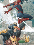 X-Men/Spider-Man No.1 Cover: Spider-Man, Marvel Girl, Cyclops and Beast Plastic Sign by Mario Alberti