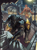 Black Panther: The Man Without Fear No.513 Cover: Black Panther and Daredevil Crouching Plastic Sign by Simone Bianchi