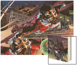 Heroes For Hire No.1: Falcon Flying Wood Print by Brad Walker