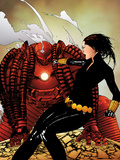 Black Widow No.8 Cover: Black Widow and Crimson Dynamo Fighting Wall Decal by Travel Foreman