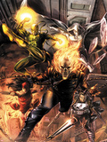 Heroes For Hire No.1 Cover: Ghost Rider, Elektra, Punisher, Iron Fist, and Moon Knight Charging Wall Decal by Doug Braithwaite