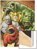 Marvel Monsters: Ulysses Bloodstone Group: Red Ronin and Fin Fang Foom Wood Print