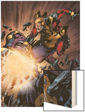The Thanos Imperative No.5: Captain America and Thanos Fighting Wood Print by Miguel Angel Sepulveda