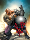Marvel Adventures Spider-Man No.24 Cover: Spider-Man and Absorbing Man Plastic Sign by Ale Garza