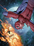 The Amazing Spider-Man No.681 Cover: Human Torch and Spider-Man in Space Prints by Giuseppe Camuncoli